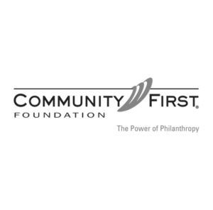 Black and white of community first logo design by Stortz Design