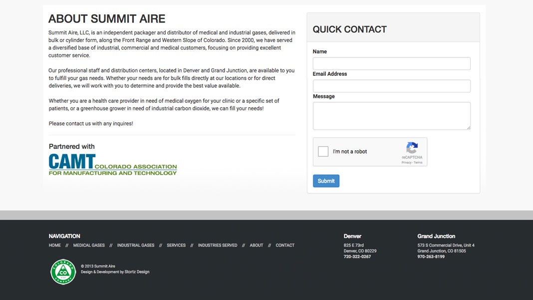 screenshot of summit aire website